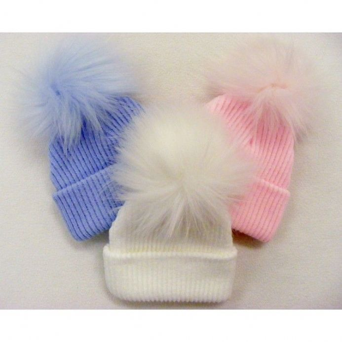 Second Size Ribbed Pom Pom Hat